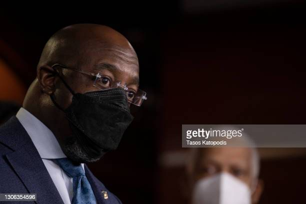 Sen. Raphael Warnock speaks at a press conference at Capitol Hill on March 10, 2021 in Washington, DC. The bill includes direct payments,...
