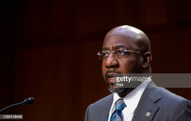 Sen. Raphael Warnock speaks during a Senate Judiciary hearing on Capitol Hill April 20, 2021 in Washington, DC. The committee is hearing testimony on...