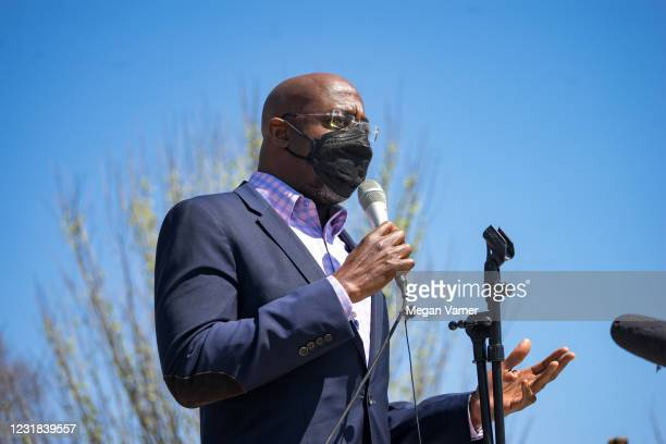 Sen. Raphael Warnock speaks to a group of demonstrators gathered in Atlanta to show support for Asian and Pacific Islander communities on March 20,...