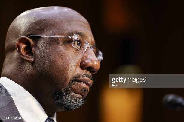 Sen. Raphael Warnock testifies during a Senate Judiciary Committee hearing on voting rights on Capitol Hill on April 20, 2021 in Washington, DC....