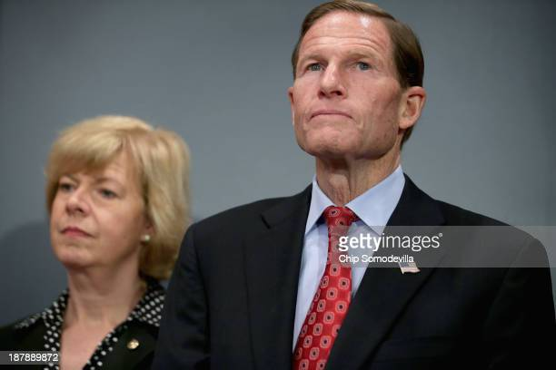 S Sen Richard Blumenthal and US Sen Tammy Baldwin announces new legislation to protect womens right to abortion during a news conference in the...