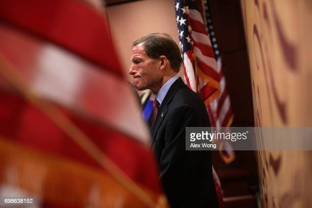 S Sen Richard Blumenthal listens during a news conference June 20 2017 on Capitol Hill in Washington DC House and Senate Democrats used the...