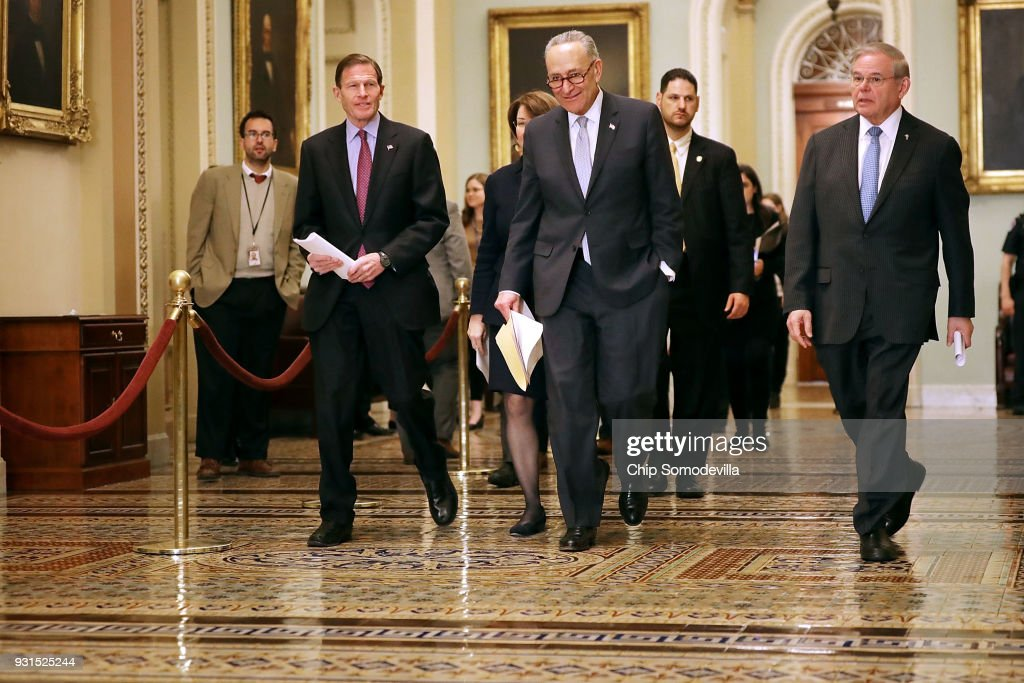 Sen. Richard Blumenthal (D-CT) , Senate Minority Leader Charles Schumer (D-NY) and Senate Foreign Relations Committee ranking member Sen. Robert Menendez (D-NJ) arrive for a news conference following the regular Democratic policy luncheon at the U.S. Capitol March 13, 2018 in Washington, DC. Following Tuesday's firing of Secretary of State Rex Tillerson, Schumer said he expected CIA Director Mike Pompeo, who has been tapped to replace Tillerson, would be tougher on Russia.