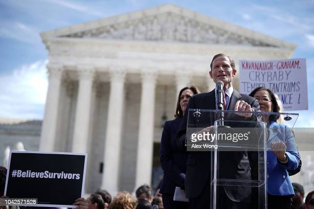 Sen Richard Blumenthal speaks as Sen Mazie Hirono and Sen Kamala Harris listen during a rally in front of the US Supreme Court September 28 2018 in...