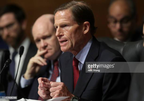 Sen Richard Blumenthal speaks as US Attorney General William Barr testifies before the Senate Judiciary Committee May 1 2019 in Washington DC Barr...