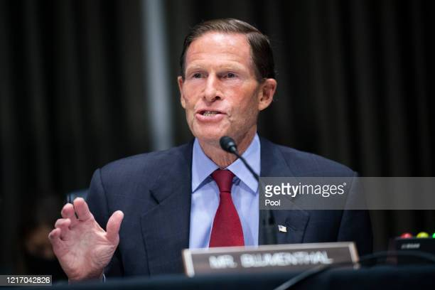S Sen Richard Blumenthal speaks at a hearing of the Judiciary Committee examining issues facing prisons and jails during the coronavirus disease...