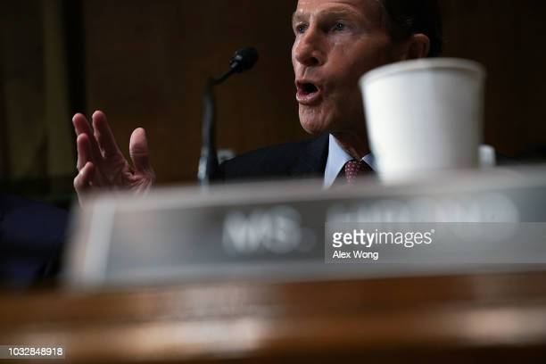 S Sen Richard Blumenthal speaks during a markup hearing before the Senate Judiciary Committee September 13 2018 on Capitol Hill in Washington DC A...