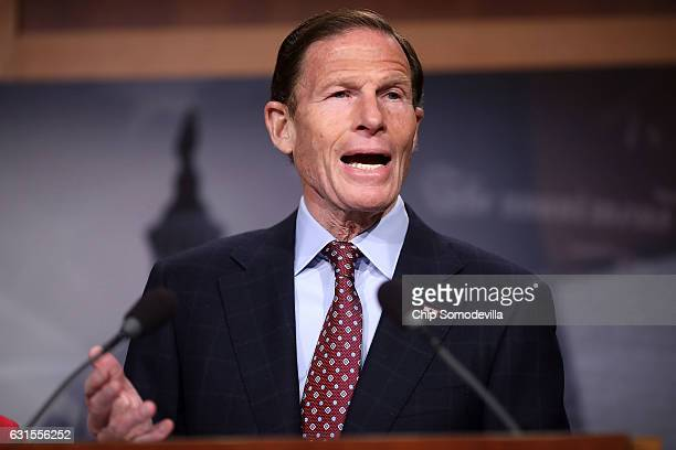 Sen Richard Blumenthal speaks during a news conference at the US Captiol January 12 2017 in Washington DC The Democratic senator said hewould vote...