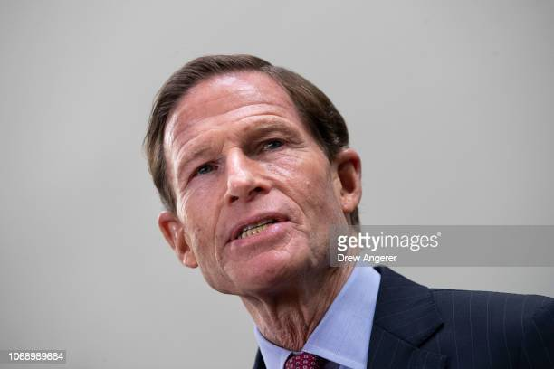 Sen Richard Blumenthal speaks during a news conference to demand action for gun violence prevention December 6 2018 in Washington DC Family members...