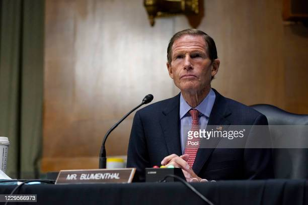 Sen. Richard Blumenthal speaks during a Senate Judiciary Committee hearing on November 10, 2020 on Capitol Hill in Washington, DC. The hearing is...