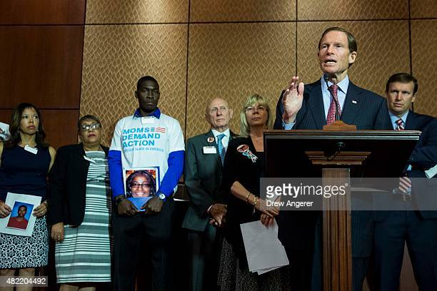 Sen Richard Blumenthal speaks during an event hosted by Everytown for Gun Safety and Moms Demand Action for Gun Sense in America on Capitol Hill July...