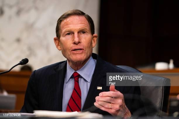 Sen. Richard Blumenthal speaks during U.S. Attorney General nominee Merrick Garland's confirmation hearing in the Senate Judiciary Committee on...