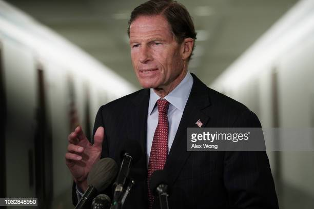 S Sen Richard Blumenthal speaks to members of the media as he arrives at a markup hearing before the Senate Judiciary Committee September 13 2018 on...