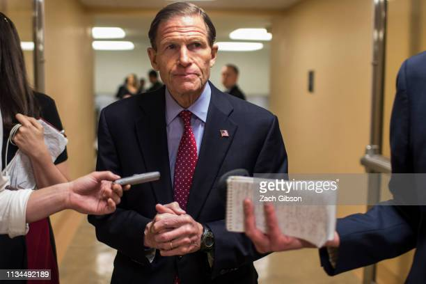 Sen Richard Blumenthal speaks to reporters in the Senate basement before a weekly policy luncheon on April 2 2019 in Washington DC