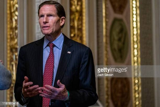 Sen Richard Blumenthal stands outside of the Senate Chamber during a recess in the Senate impeachment trial of US President Donald Trump at the US...
