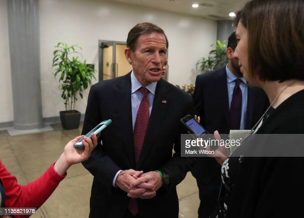 Sen Richard Blumenthal talks to reporters after the Senate voted to overturn the President's national emergency border declaration at the US Capitol...