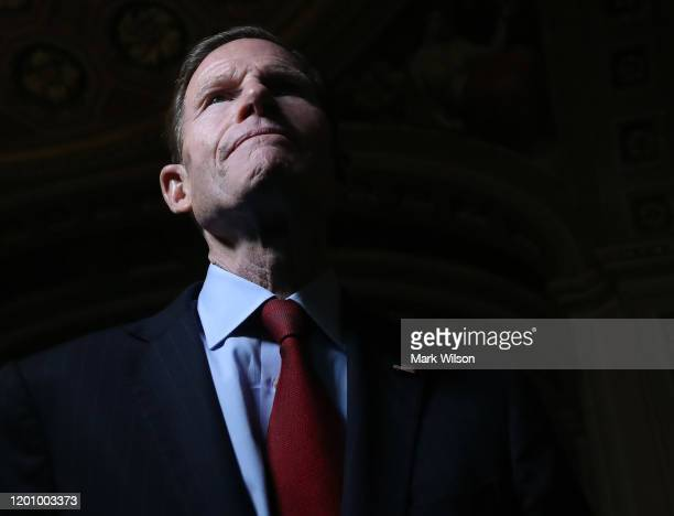 Sen Richard Blumenthal talks to reporters outside of the Senate Chamber at the US Capitol January 21 2020 in Washington DC Today marks day one of the...
