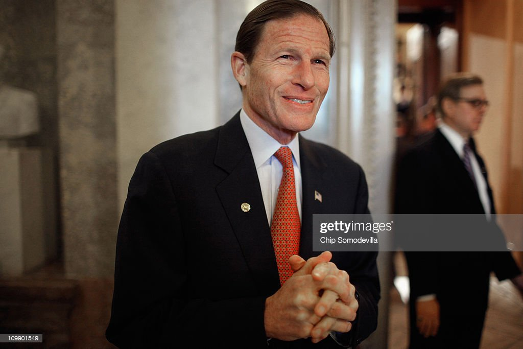 U.S. Sen. Richard Blumenthal (D-CT) walks off the floor after the Senate failed to pass legislation approved last month by the House that would cut $57 billion from the federal budget at the U.S. Capitol March 9, 2011 in Washington, DC. Lawmakers must agree to another spending bill by March 18 when the current temporary budgetary measure expires.