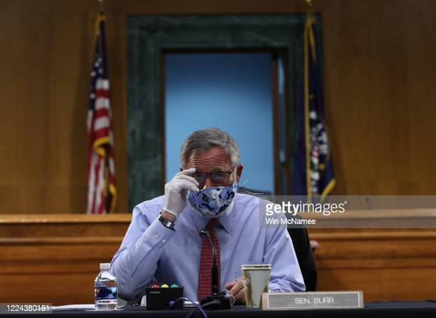 Sen. Richard Burr attends a Senate Health, Education, Labor and Pensions Committee hearing on Capitol Hill on May 12, 2020 in Washington, DC. The...