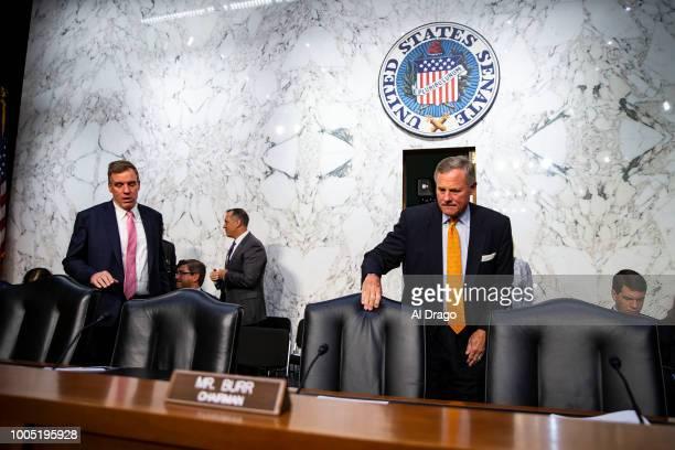 Sen Richard Burr chairman of the Senate Intelligence Committee and Sen Mark Warner vicechair of the Senate Intelligence Committee arrive before...