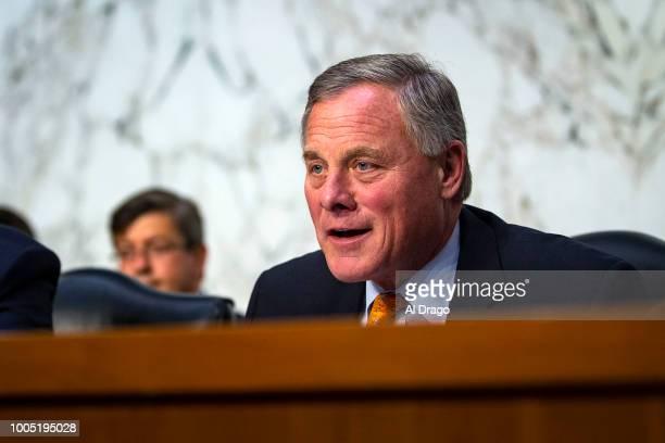 Sen Richard Burr chairman of the Senate Intelligence Committee questions retired Vice Adm Joseph Maguire during a Senate Intelligence Committee...