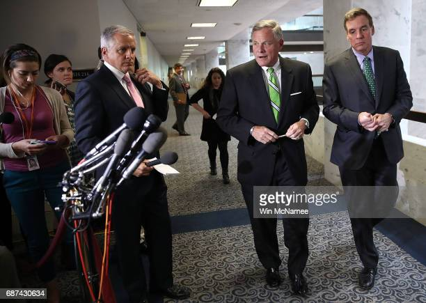 Sen Richard Burr Chairman of the Senate Select Committee on Intelligence and ranking member of the committee Sen Mark Warner arrive to speak with...