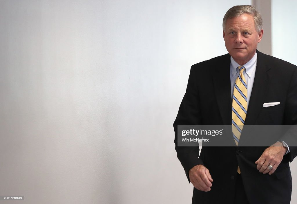 Sen. Richard Burr (R-NC), chairman of the Senate Select Committee on Intelligence, arrives for a closed committee meeting July 11, 2017 in Washington, DC. Ranking member of the committee, Sen. Mark Warner (D-VA), commented briefly on recent reports of Donald Trump Jr. meeting with a Russian lawyer in June 2016.