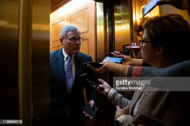 Sen Richard Burr RNC speaks to reporters as he departs from the Senate Republican lunch in the Capitol on Tuesday Feb 4 2020