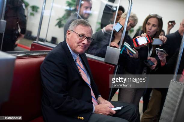 Sen Richard Burr RNC talks with reporters in the Capitol after the impeachment trial of President Donald Trump adjourned for the day on Monday...