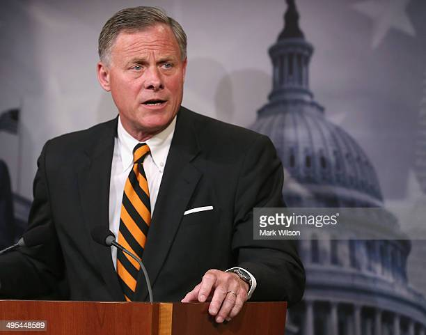 Sen Richard Burr speaks about veterans affairs during a news conference on Capitol Hill June 3 2014 in Washington DC Four Senators introduced The...
