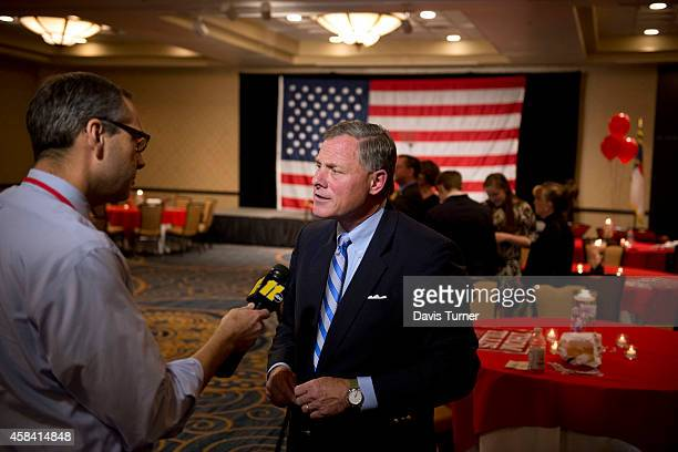S Sen Richard Burr speaks with the media at The Omni Hotel Ballroom while waiting for election results on November 4 in Charlotte North Carolina US...