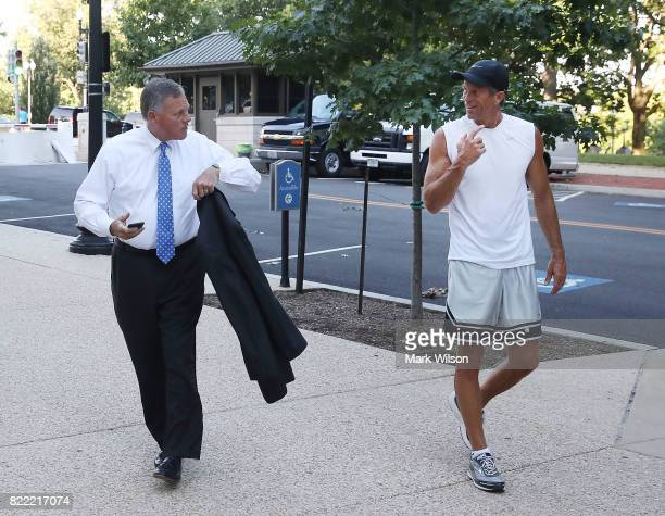 Sen Richard Burr talks with Sen John Thune on Capitol Hill July 25 2017 in Washington DC Later today Senate Majority Leader Mitch McConnell will find...