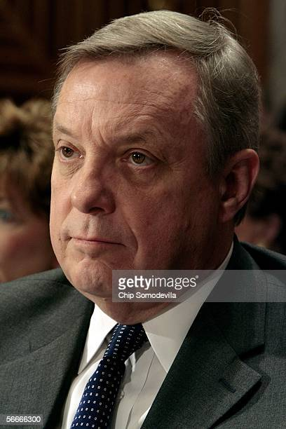 Sen. Richard Durbin attends a Homeland Security and Governmental Affairs committee meeting on lobby reform January 25, 2006 on Capitol Hill in...