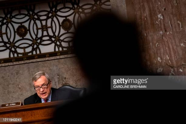 Sen Richard Durbin DIL questions Justin Reed Walker as he testifies during a Senate Judiciary Committee hearing on his nomination to be United States...