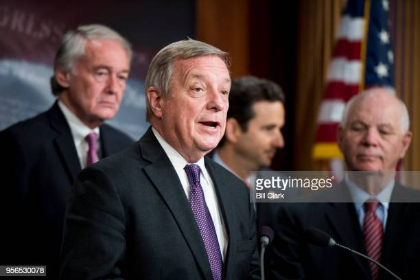 Sen Richard Durbin DIll speaks during the Senate Democrats' news conference to officially file petition to force a vote on net neutrality on...