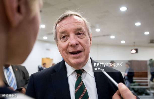 Sen Richard Durbin DIll speaks with reporters after a vote in the Capitol on Thursday June 14 2018
