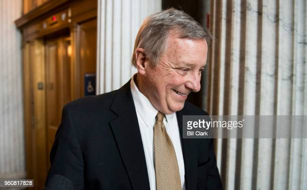Sen Richard Durbin DIll speaks with reporters as he arrives for the Senate Democrats' lunch in the Capitol on Tuesday April 24 2018
