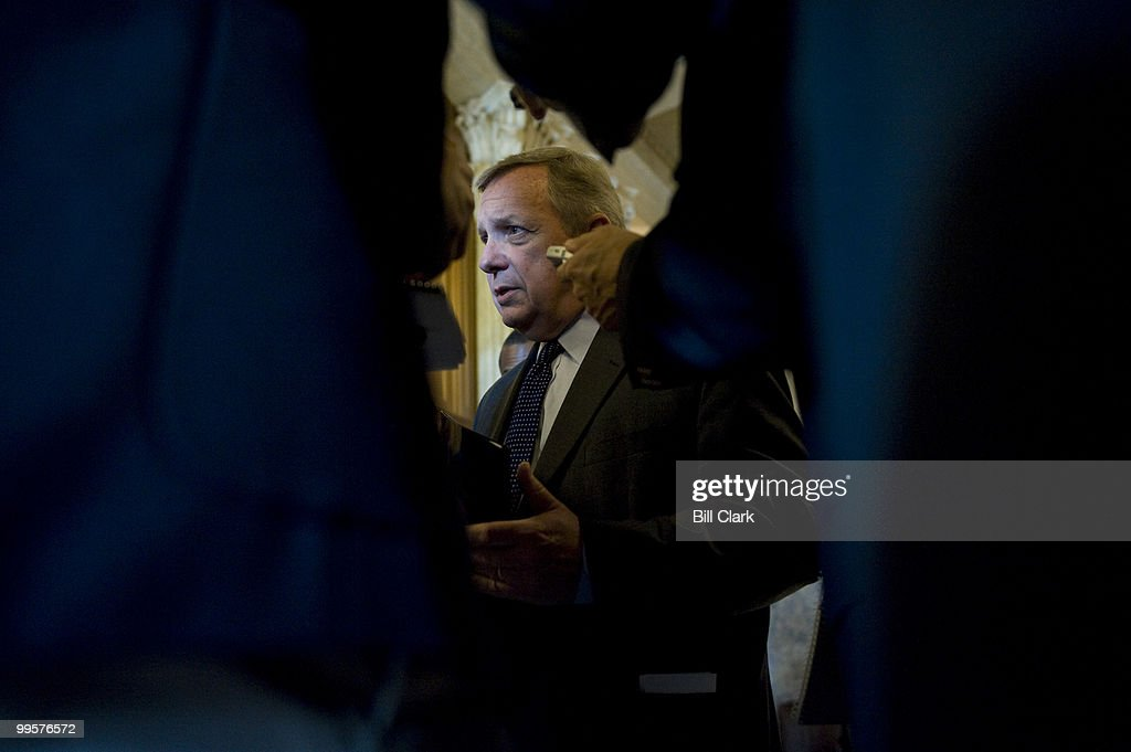 Sen. Richard Durbin, D-Ill., speaks with reporters as he makes his way to the Senate Democratic Policy Committee luncheon on Tuesday, July 8, 2008.