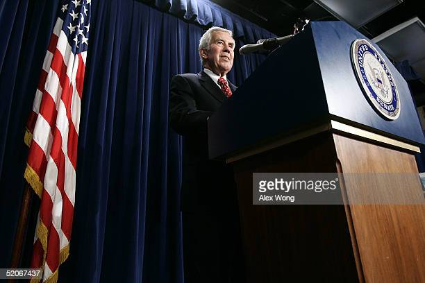 S Sen Richard Lugar speaks during a news conference January 26 2005 on Capitol Hill in Washington DC Lugar talked about the upcoming election in Iraq...
