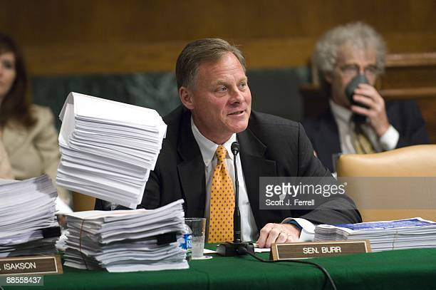 June 17: Sen. Richard M. Burr, R-N.C., surrounded by copies of the proposed bill, during the first day of the Senate Health, Education, Labor and...