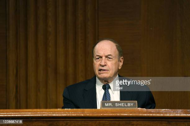 Sen. Richard Shelby during the Senate's Committee on Banking, Housing, and Urban Affairs hearing examining the quarterly CARES Act report to Congress...