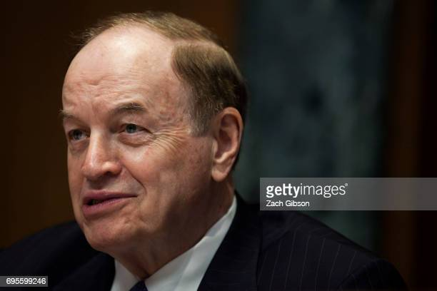 Sen. Richard Shelby speaks during a Senate Commerce, Justice, Science, and Related Agencies Subcommittee hearing on the Justice Department's proposed...