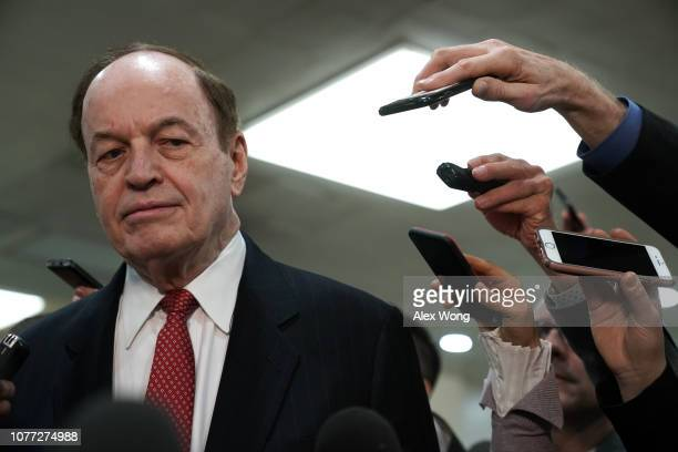 Sen. Richard Shelby speaks to members of the media after a closed door briefing by Central Intelligence Agency Director Gina Haspel to members of...