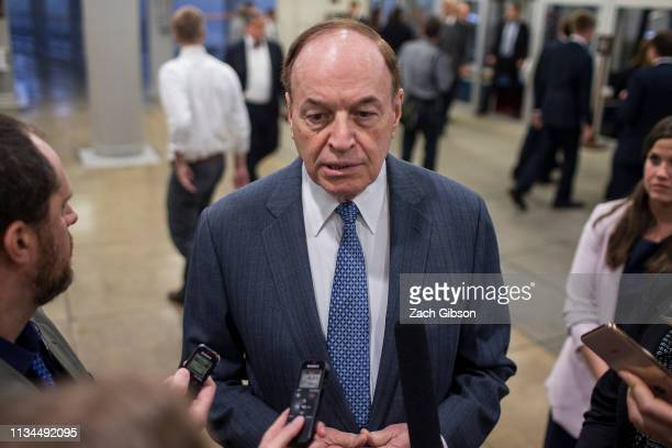 Sen. Richard Shelby speaks to reporters in the Senate basement before a weekly policy luncheon on April 2, 2019 in Washington, DC.