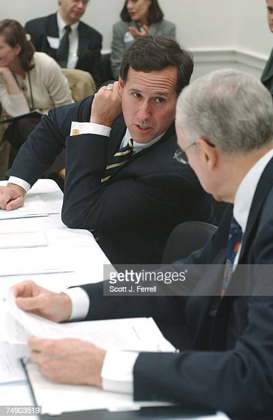 'PARTIALBIRTH' ABORTION CONFERENCE COMMITTEE Sen Rick Santorum RPa and Chairman Orrin G Hatch RUtah talk as they wait for House and Senate conferees...