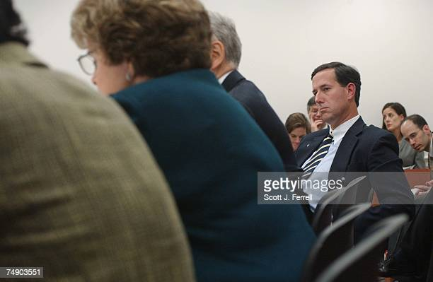 'PARTIALBIRTH' ABORTION CONFERENCE COMMITTEE Sen Rick Santorum RPa listens to opening statement of Sen Dianne Feinstein DCalif second from left as...