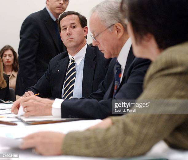 'PARTIALBIRTH' ABORTION CONFERENCE COMMITTEE Sen Rick Santorum RPa looks on as Sen Barbara Boxer DCalif presents an amendments as House and Senate...