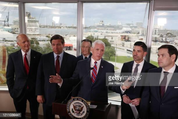 Sen Rick Scott Florida Governor Ron DeSantis US Coast Guard Admiral Eric Jones Vice President Mike Pence Chad F Wolf the acting Secretary of Homeland...