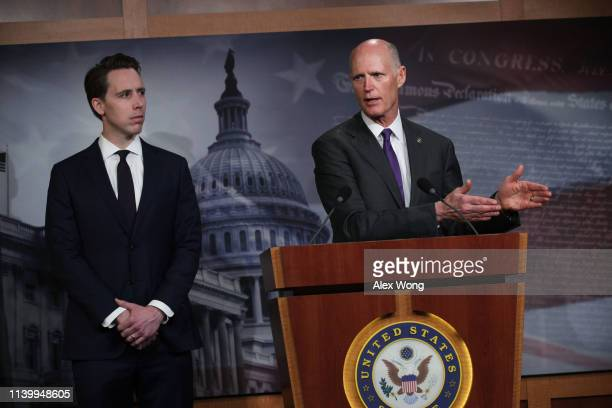 S Sen Rick Scott speaks as Sen Josh Hawley listens during a news conference at the US Capitol April 2 2019 in Washington DC Sen Scott held a news...