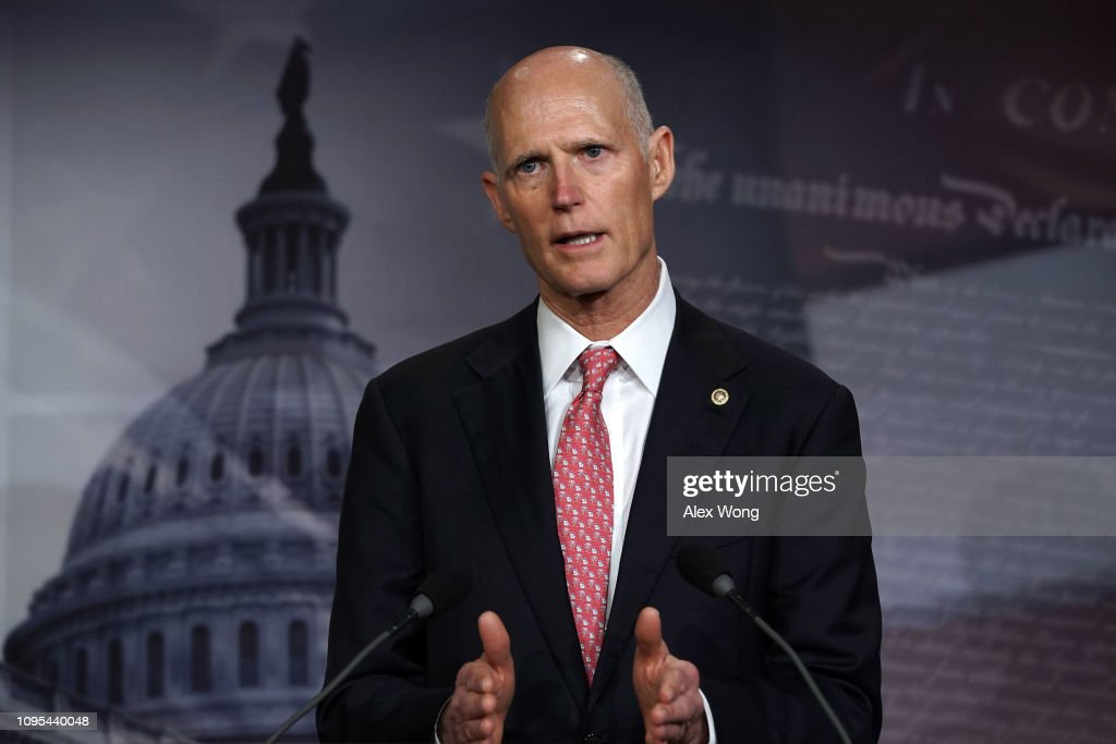 Florida Sen. Rick Scott Holds News Conference On Partial Government Shutdown : News Photo